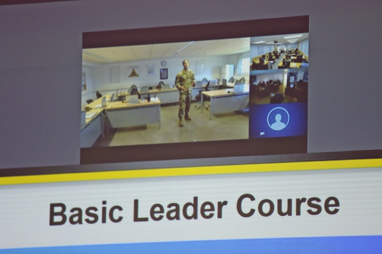 U.S. Army Staff Sgt. Austin Fischer, an instructor with the 7th Army Noncommissioned Officer Academy in Grafenwoehr, Germany, teaches a block of instruction over video teleconference to students of a virtual Basic Leader Course located in Kaiserslautern, Germany, April 21, 2020. The first-ever four-week virtual BLC course for junior enlisted Soldiers is being led by the 7th Army NCOA and has both Reserve and active duty students collaborating online from 20 classrooms in four countries across Europe.