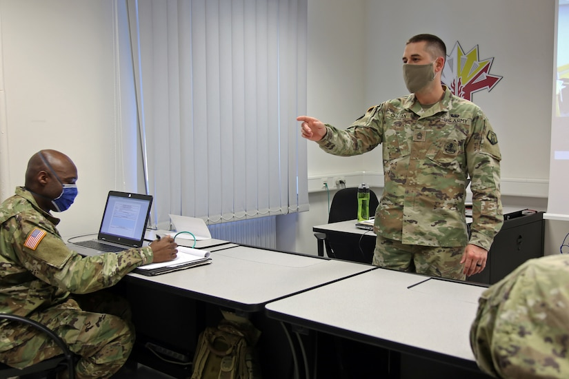 U.S. Army Reserve Sgt. 1st Class Kenneth Chefan, a detachment sergeant with the 446th Transportation Battalion, 510th Regional Support Group, 7th Mission Support Command, facilitates a block of instruction in Kaiserslautern, Germany, during a virtual Basic Leader Course being taught over video teleconference, April 21, 2020. Two 7th MSC noncommissioned officers are providing leadership as assistant instructors for one of 20 classrooms in four countries across Europe during the first-ever four-week virtual BLC course being led by the 7th Army NCO Academy out of Grafenwoehr, Germany.