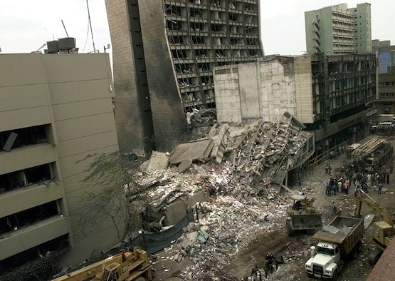 The U.S. Embassy, left, is pictured next to bombed ruins in Nairobi, Kenya, Aug. 8, 1998, one day after terrorist bombs exploded at the U.S. embassies in Kenya and Dar es Salaam, Tanzania (AP/Wide World photo)