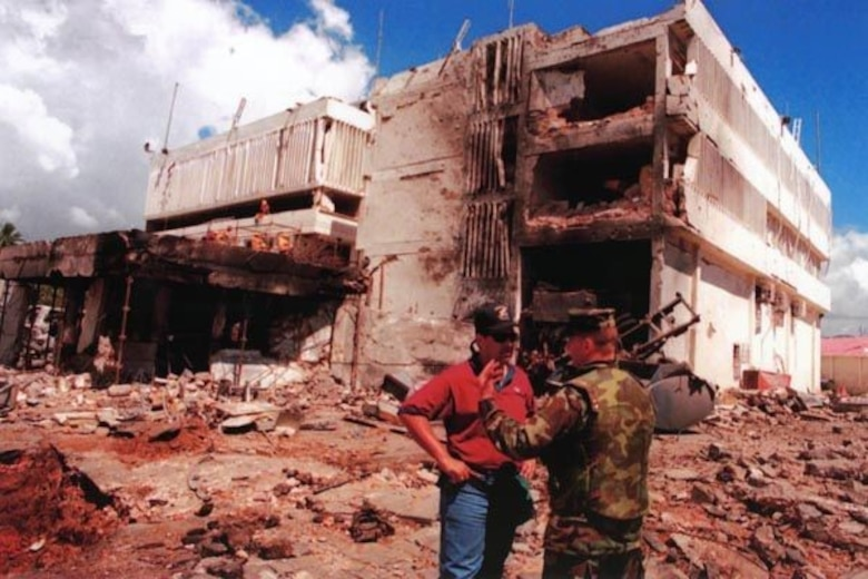 The U.S. Embassy, Dar es Salaam, Tanzania, is pictured after a truck bomb exploded outside the building, causing a multitude of deaths and extensive damage. (Central Intelligence Agency photo)