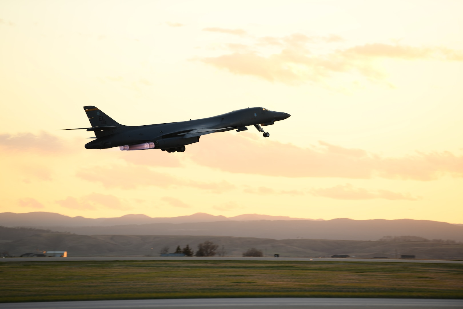 A B-1B Lancer assigned to the 28th Bomb Wing launches from Ellsworth Air Force Base, S.D., April 28, 2020, to support a Bomber Task Force mission in the Indo-Pacific region. This operation demonstrates the U.S. Air Force's dynamic force employment model in line with the National Defense Strategy's objectives of strategic predictability and operational unpredictability. (U.S. Air Force photo by Senior Airman Nicolas Erwin)