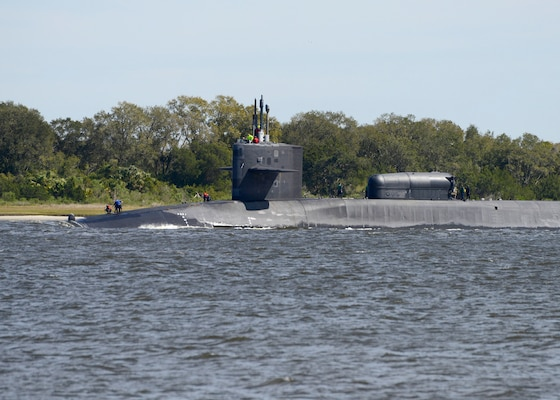 The Ohio-class guided-missile submarine USS Georgia (SSGN 729)(Gold) returns to its homeport at Naval Submarine Base Kings Bay, Ga. Ohio-class guided-missile submarines are capable of carrying up to 154 tomahawk land-attack cruise missiles. The base is home to all East Coast Ohio-Class submarines.