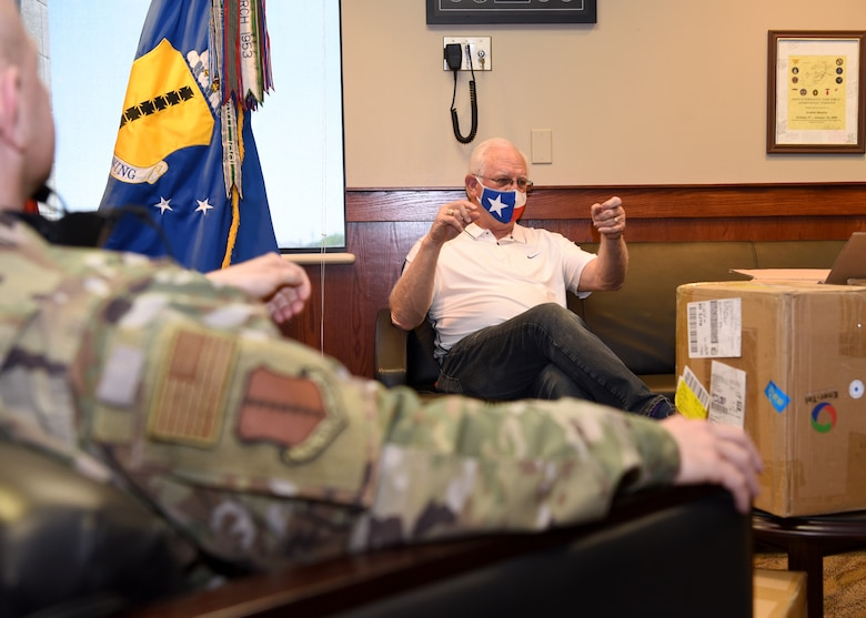 San Angelo Military Advisor Group Co-Chair, Mike Boyd, explains the circumstances of which the 2,100 disposable surgical masks were donated to the 17th Training Wing inside the Norma Brown building on Goodfellow Air Force Base, Texas, April 28, 2020. The donations came from Managing Partner of Principal LED, Bryan Vincent, and Ener-Tel Owner, Scott Wisniewski who purchased over 100,000 masks to donate across San Angelo's medical members, first responders and Goodfellow Air Force Base.  (U.S. Air Force photo by Airman 1st Class Abbey Rieves)