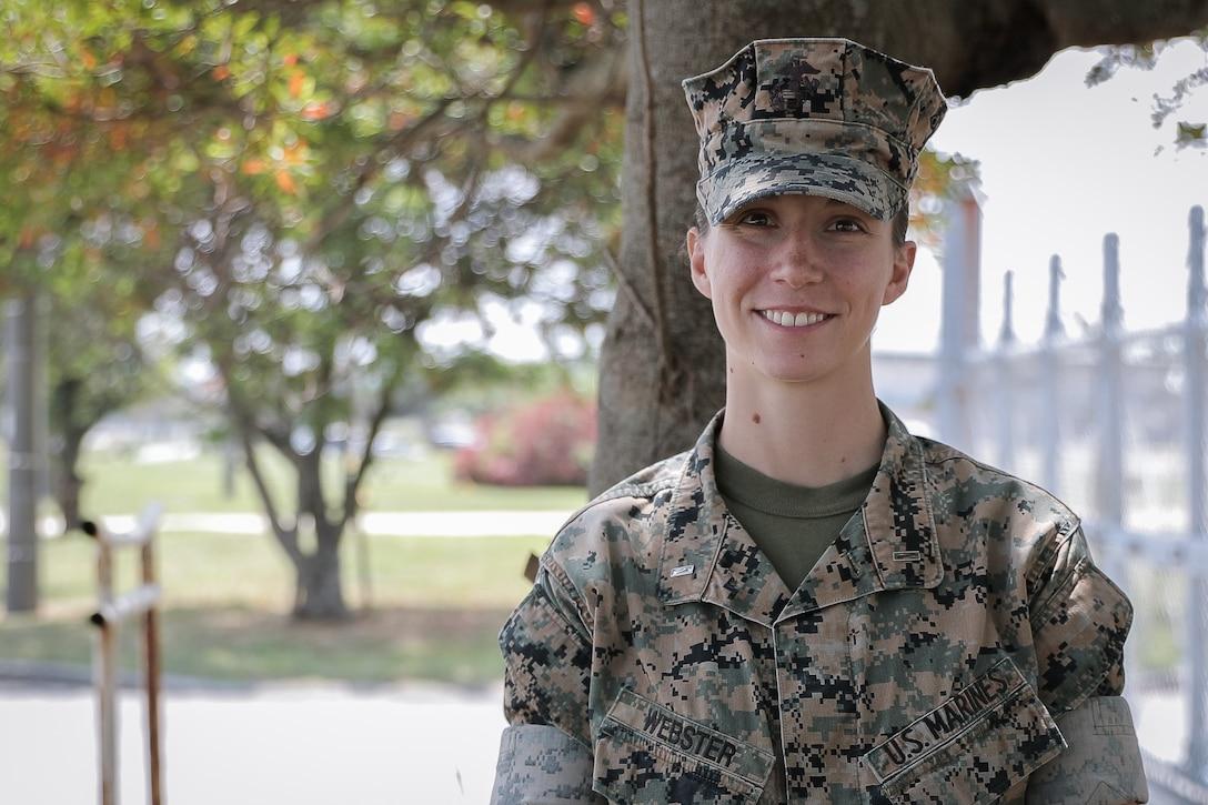 1st Lt. Cinja Webster smiles for a picture at Camp Courtney, Okinawa, Japan, April 30, 2020.