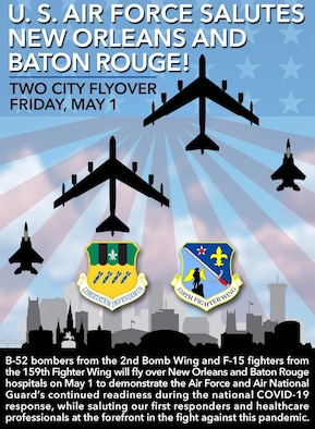 Graphic for B-52 and F-15 flyovers of New Orleans and Baton Rouge