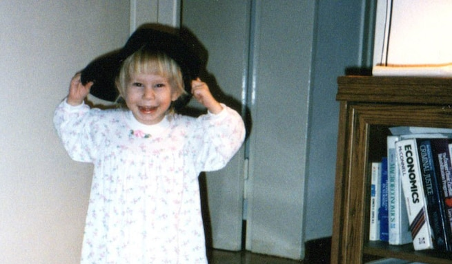 Mikayla Mast wears her father's Army boots and cap, June 1998. Retired Lt. Col. Jack H. Mast Jr. enlisted in the Army in 1986 and retired in 2010. Mikayla used to say she wanted to be a princess Army girl doctor when she grew up. (Courtesy photo)