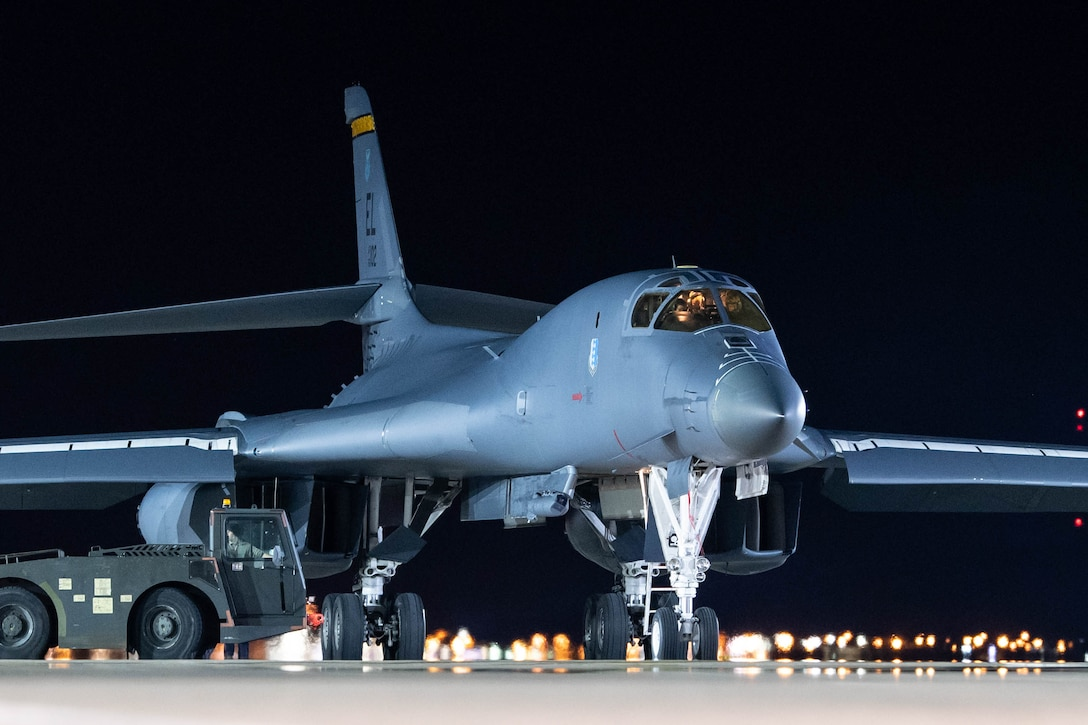 Aircrew piloting a B-1B Lancer prepare to park at Ellsworth Air Force Base, S.D., April 30, 2020.