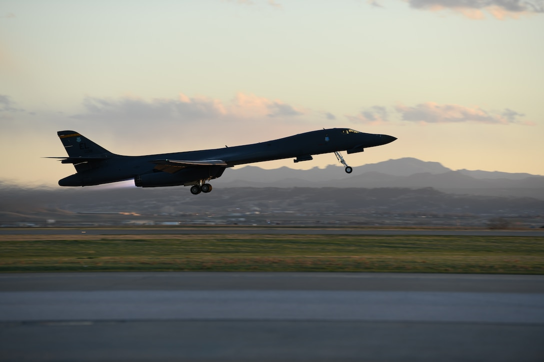 A B-1B Lancer assigned to the 28th Bomb Wing takes off from Ellsworth Air Force Base, S.D., April 28, 2020, to support a Bomber Task Force mission in the Indo-Pacific region. This operation demonstrates the U.S. Air Force's dynamic force employment model in line with the National Defense Strategy's objectives of strategic predictability and operational unpredictability. (U.S. Air Force photo by Senior Airman Nicolas Erwin)
