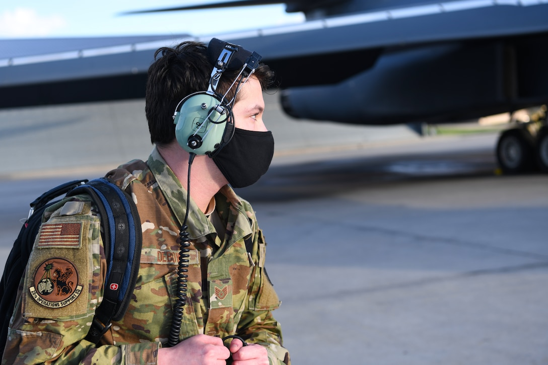 A combat crew communications Airman prepares to conduct avionics system checks on a B-1B Lancer assigned to the 28th Bomb Wing from Ellsworth Air Force Base, S.D., April 28, 2020. Aircrew flew two B-1s from the continental United States and conducted operations over the South China Sea as part of a joint U.S. Indo-Pacific Command and U.S. Strategic Command Bomber Task Force mission. (U.S. Air Force photo by Senior Airman Nicolas Erwin)