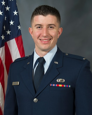 U.S. Air Force 1st. Lt. Brandon Hanner pauses for an official photo.