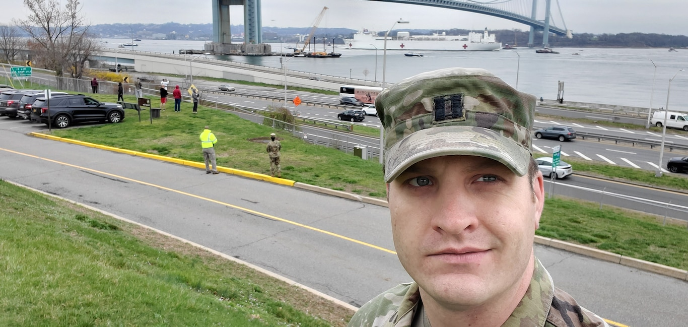 Captain Colin Sexton, a program manager with the U.S. Army Corps of Engineers Transatlantic Middle East District took a photo of the USNS Comfort as it arrived in New York City. Captain Sexton deployed from TAM to assist the North Atlantic Division with COVID-19 response efforts