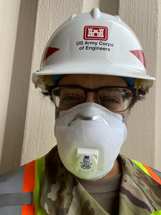 Captain Aimee Valles, a deputy area engineer with the U.S. Army Corps of Engineers Transatlantic Middle East District spent long hours in Personal Protective Equipment while helping coordinate USACE efforts in New York City.