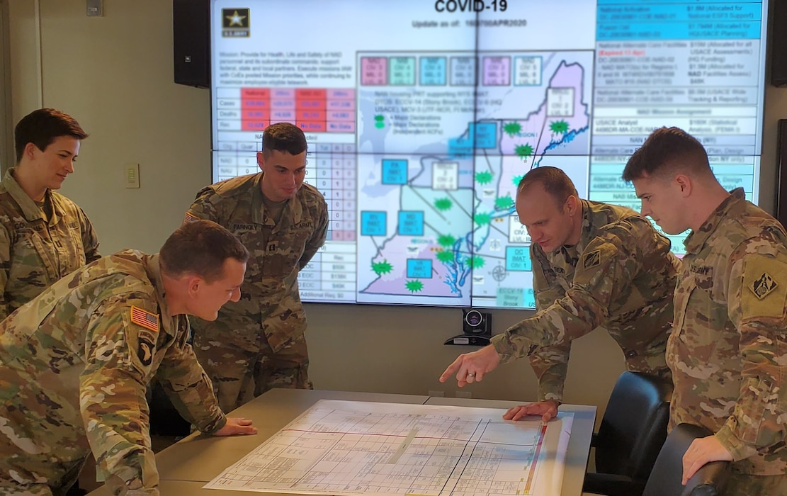 Captain Colin Sexton, a program manager with the U.S. Army Corps of Engineers Transatlantic Middle East District coordinates U.S. Army Corps of Engineers COVID response information with other officers deployed to New York to assist with USACE response efforts.