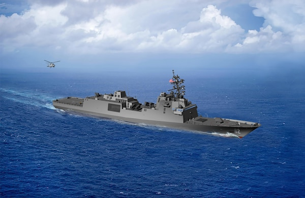 An artist rendering of the guided-missile frigate FFG(X). The U.S.Navy awarded a contract to design and produce the next generation small surface combatant, the Guided Missile Frigate on April 30.
