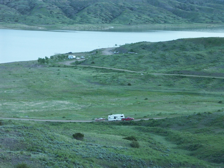 Campers at Fourchette Bay on Fort Peck Lake