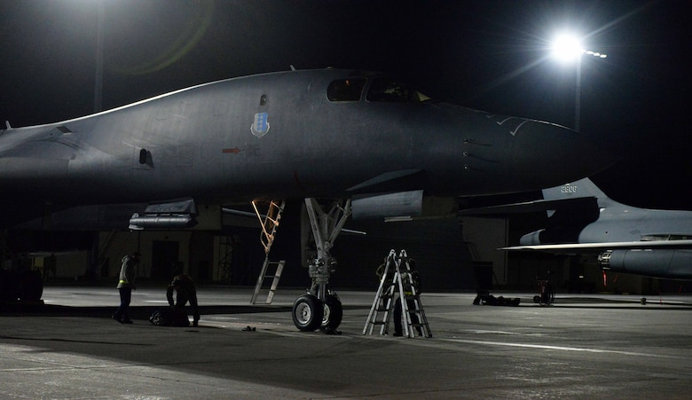 A B-1B Lancer undergoes post-mission maintenance at Ellsworth Air Force Base, S.D., April 30, 2020, following the completion of a 32-hour Bomber Task Force mission.
