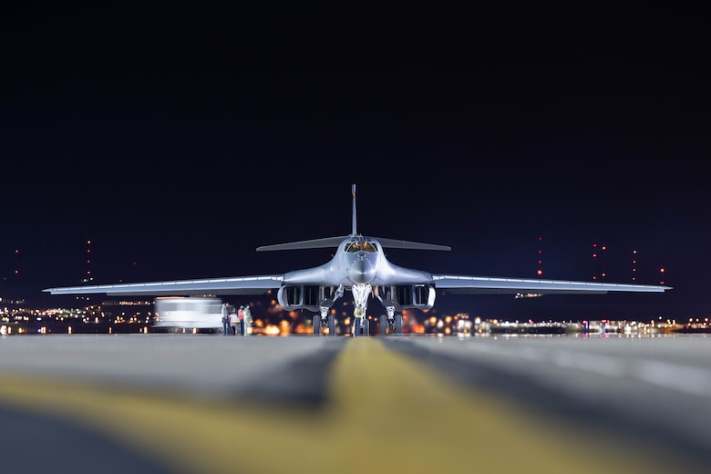 A B-1B Lancer assigned to the 28th Bomb Wing is taxied to parking at Ellsworth Air Force Base, S.D., April 30, 2020.