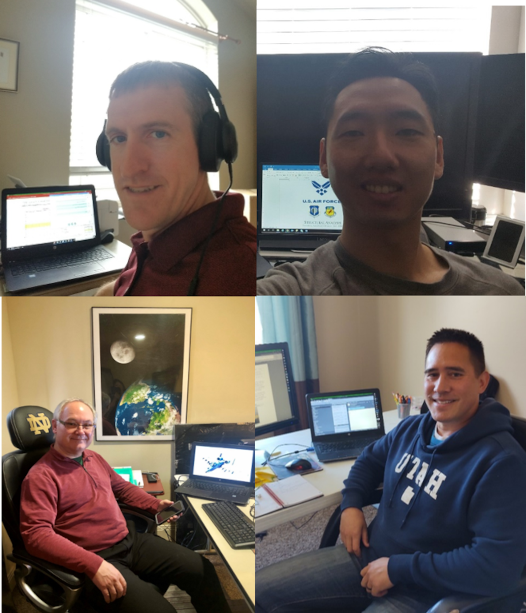 The A-10 Engineering Team met virtually to review data and discuss.  Pictured are (starting top left and moving cw) Reed Fawcett, 1st Lt. James Zhen, Greg Stowe and Michael Hackett, Jr.  (courtesy photo)