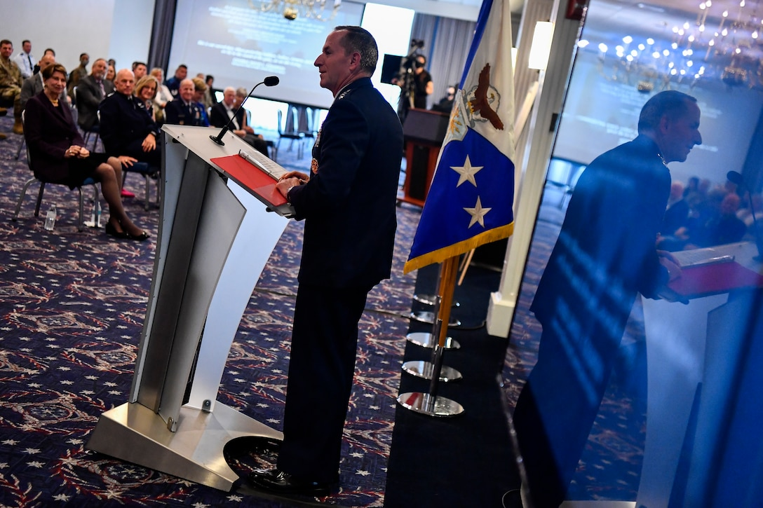 """Air Force Chief of Staff Gen. David L. Goldfein delivers remarks during a dedication ceremony in his honor at Joint Base Anacostia-Bolling, Washington, D.C., July 31, 2020. The ceremony unveiled a new etching for the Wall of Valor at the Air Force Memorial that reads, """"This is our sacred duty. When protecting Soldiers, Sailors, Airmen and Marines, we fly to the sound of the guns ... or we die trying."""" (U.S. Air Force photo by Eric Dietrich)"""
