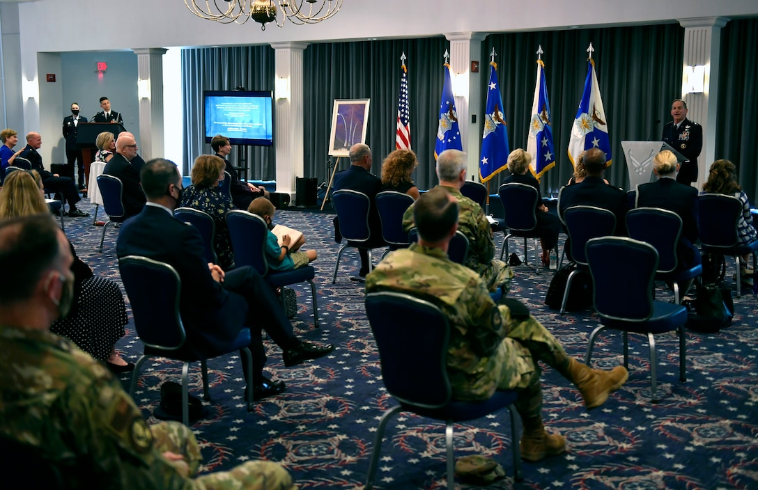 """Air Force Chief of Staff Gen. David L. Goldfein delivers remarks during a dedication ceremony in his honor at Joint Base Anacostia-Bolling, Washington, D.C., July 31, 2020. The ceremony unveiled a new etching for the Wall of Valor at the Air Force Memorial that reads, """"This is our sacred duty. When protecting Soldiers, Sailors, Airmen and Marines, we fly to the sound of the guns ... or we die trying."""" (U.S. Air Force photo by Wayne Clark)"""