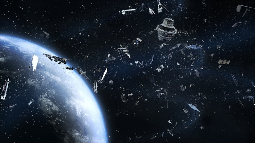 Space junk clogs space orbit