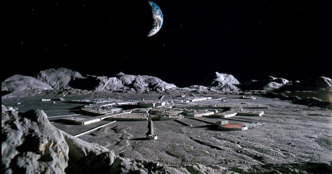 Artists rendering of a future lunar base