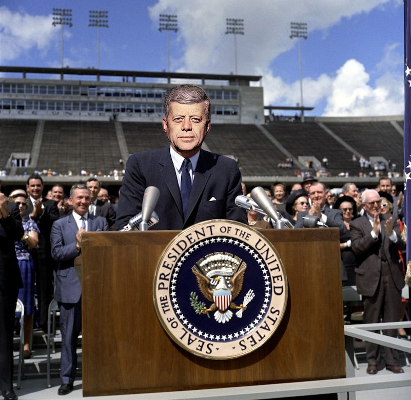 Future president Louis F. Kennedy delivering speech