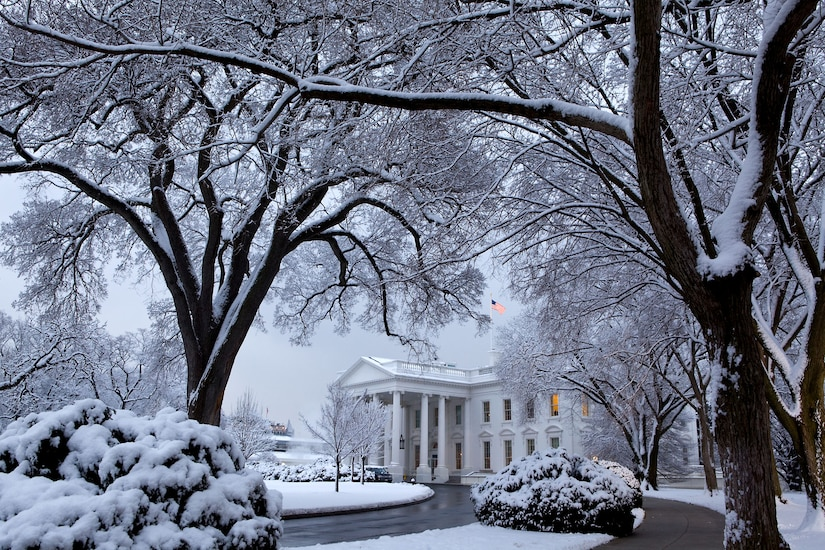 The White House after a snowstorm on the morning of Feb. 3, 2010.