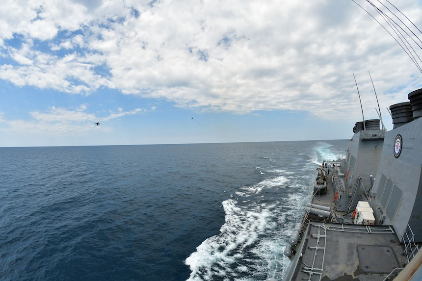 F-16 Fighting Falcons from the 510th Fighter Squadron participate in a joint training mission in the Black Sea with the Arleigh Burke class, guided-missile destroyer, USS Porter (DDG 78).  U.S. 6th Fleet, headquartered in Naples, Italy, conducts the full spectrum of joint and naval operations, often in concert with joint, allied, and interagency partners in order to advance U.S. national interests and security and stability in Europe and Africa.