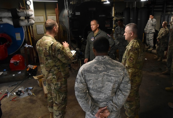 Lt. Col. Nicholas Pulire, 8th Civil Engineer Squadron commander, speaks with Lt. Gen. Scott Pleus, Seventh Air Force commander, about construction and dorm heating, ventilation, air conditioning and refrigeration during his integration with Kunsan Air Base, Republic of Korea, July 29, 2020.