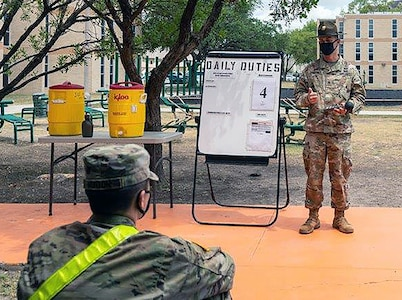 Staff Sgt. Travis Webster, the U.S. Army Medical Center of Excellence 2020 Drill Sergeant of the Year, conducts socially distant enabled training for Advanced Individual Training students at the MEDCoE on Joint Base San Antonio-Fort Sam Houston.