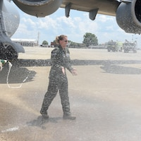 U.S. Air Force Colonel Bryony Terrell, 145th Airlift Wing Commander, is greeted at the completion of her Fini Flight on July 14, 2020, at the North Carolina Air National Guard Base, Charlotte-Douglas International Airport. Colonel Terrell relinquishes Command on August 1, 2020, after leading the Airmen of the 145th Airlift Wing through their transition in mission from C – 130 Hercules to C 17 Globemaster aircraft.