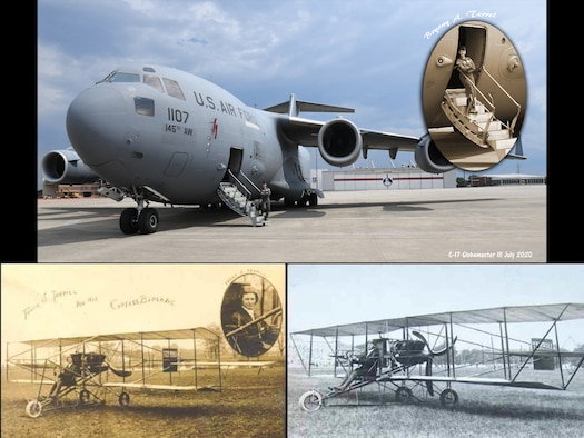 A collage of three images, the top image is U.S. Air Force Colonel Bryony Terrell, 145th Airlift Wing Commander, standing on the galley of a C-17 Globemaster, on July 15, 2020, at the North Carolina Air National Guard Base, Charlotte-Douglas International Airport. The Bottom two images are old photos of Col. Terrell's relative Frank Terrill, who sits aboard his Wright Brothers flier at a South Carolina State Fair, in an undated photograph.