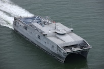 The U.S. Navy's twelfth Expeditionary Fast Transport (EPF) vessel, USNS Newport (EPF 12), successfully competed Integrated Sea Trials, July 30. (Courtesy Austal USA)