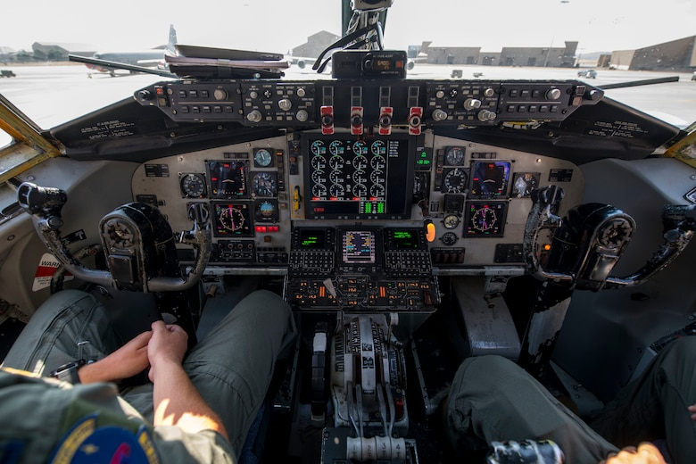 U.S. Air Force pilots from the 97th Air Refueling Squadron perform pre-flight checks at Fairchild Air Force Base, Washington, July 30, 2020. Pilots practice all pre-, mid and post- flight checklists in simulator provided training, enabling them to maintain proficiency. (U.S. Air Force photo by Senior Airman Lawrence Sena)