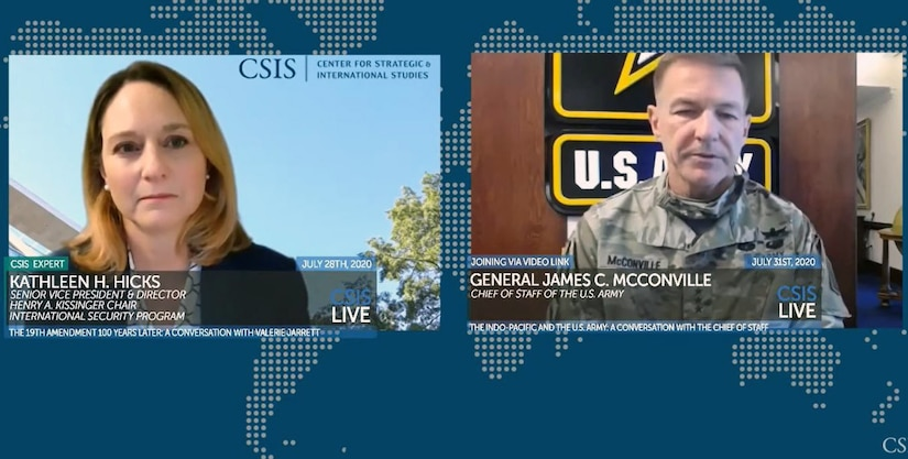 A woman and an Army officer appear on separate screens during a video teleconference.