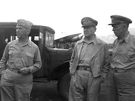 LTG Kreuger Standing Next to GEN MacArthur and GEN Marshall