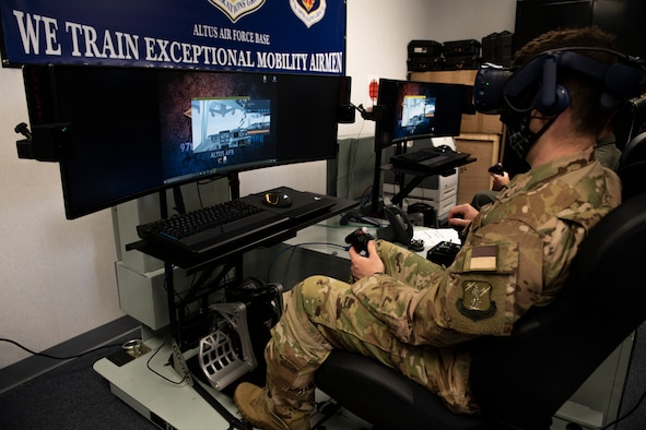 Virtual reality pilot training.