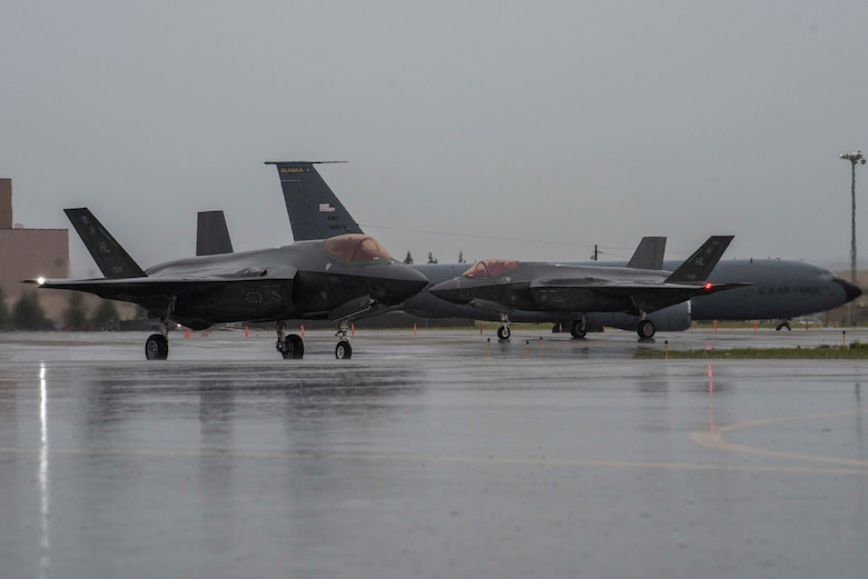 Two U.S. Air Force F-35A Lightning IIs from Hill Air Force Base, Utah, taxi on the flight line during RED FLAG-Alaska (RF-A) 20-3 at Eielson Air Force Base, Alaska, Aug. 3, 2020. RF-A provides joint offensive counter-air, interdiction, close air support, and large-force employment training in a simulated combat environment. (U.S. Air Force photo by Airman 1st Class Aaron Larue Guerrisky)