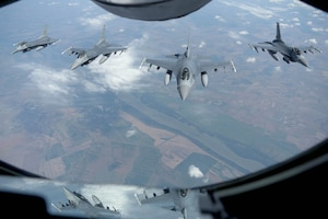 F-16's flying in formation