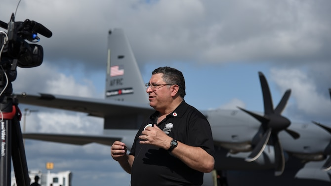 Warren Madden, senior meteorologist and lead of Chief, Aerial Reconnaissance Coordination All Hurricanes team, talks with local media during the Hurricane Awareness Tour May 10, 2019, in Brunswick, Georgia. The purpose of the HAT is to help create a weather-ready nation by raising awareness for the upcoming hurricane season occurring June 1 - Nov. 30, with emphasis this year on raising awareness about inland flooding. (U.S. Air Force photo by Tech. Sgt. Christopher Carranza)