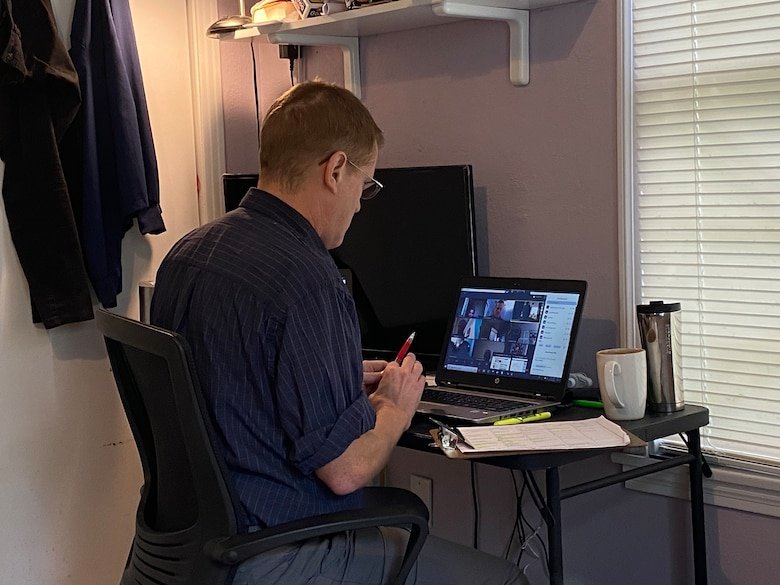 Jeff Moore, a 332nd Training Squadron instructor, teaches a class from his home office as part of a virtual training team program that the Defense Language Institute English Language Center is piloting July, 2020. The VTT program is in the piloting stages but may prove to provide U.S. partners across the globe a viable hybrid distance learning option.