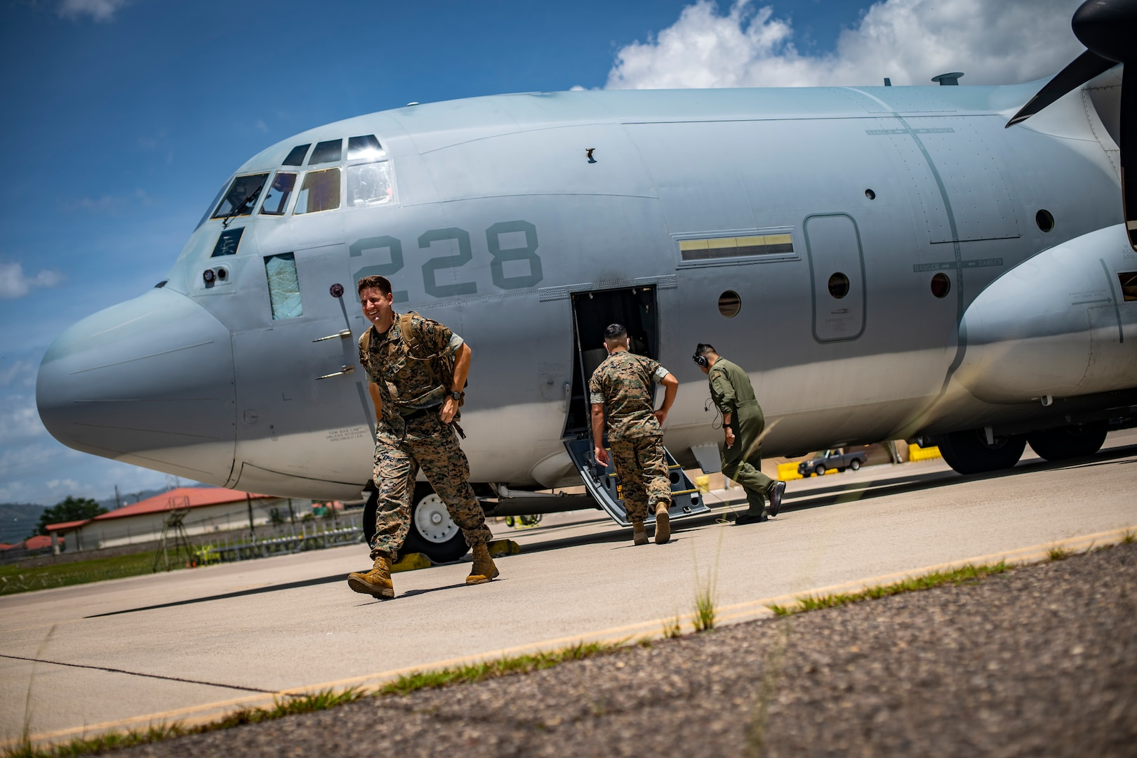 U.S. Marines arrive to Soto Cano Air Base, Honduras, July 31.
