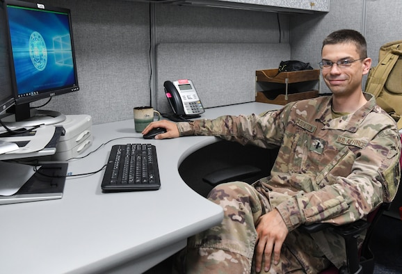 1st Lt. Nicolas Addington works in the Arnold Engineering Development Complex Financial Management Office at Arnold Air Force Base, Tenn., July 15, 2020. He recently returned from a deployment. (U.S. Air Force photo by Jill Pickett)