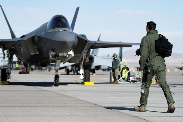 A photo of an F-35A prior to flight.