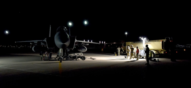 Airmen from the 378th Expeditionary Operations Group conduct an integrated combat turn to test their capability to land, refuel, weapons reload and take off at Prince Sultan Air Base, Kingdom of Saudi Arabia.