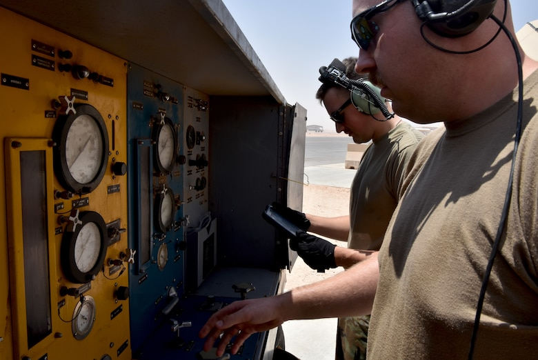 Airmen from the 378th Expeditionary Maintenance Squadron use innovation to test aircraft components at Prince Sultan Air Base, Kingdom of Saudi Arabia.