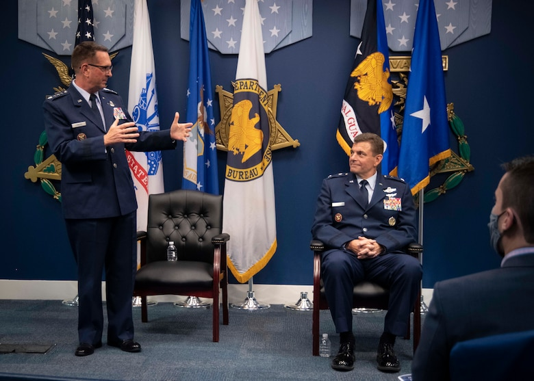 U.S. Air Force Gen. Joseph L. Lengyel, the 28th Chief of the National Guard Bureau, speaks during a Change of Responsibility ceremony for Maj. Gen. Michael A. Loh at the Pentagon July 28, 2020. During the ceremony, Loh assumed responsibility as the 13th director of the Air National Guard and was promoted to the rank of lieutenant general. (U.S. Air National Guard photo by Technical Sgt. Morgan R. Lipinski)