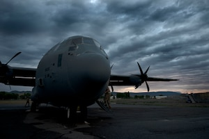 A C-130J Super Hercules assigned to the 19th Airlift Wing is parked on the flightline at Montrose Regional Airport, Colorado, July 28, 2020. Support squadrons in addition to the 41st Airlift Squadron trained in Colorado as a part of the 4/12 deployment initiative, which was developed in 2019 between airlift squadrons from Dyess Air Force Base, Texas and Little Rock AFB. The initiative allows for each squadron a full year of dwell time followed by a four-month rotation to their respective area of responsibility. (U.S. Air Force photo by Senior Airman Kristine M. Gruwell)