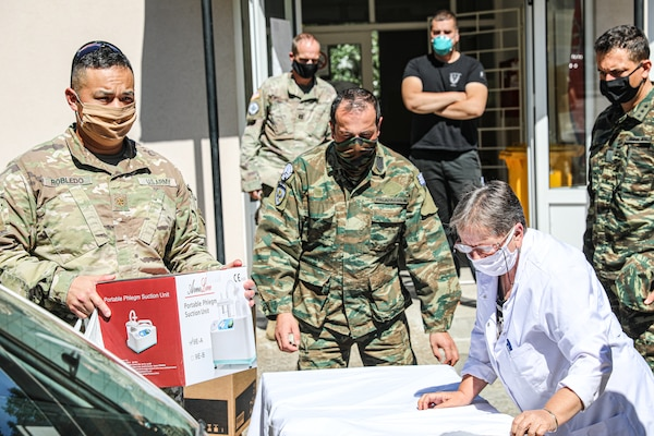 "Kosovo Force Regional-Command East Soldiers from the ""Kilo 5"" Liaison Monitoring Team delivered 4,000 euros worth of medical equipment July 28, 2020, to the Health Station of Banjska (Banjske), Kosovo. Col. Noel Hoback, RC-E deputy brigade commander, 41st Infantry Brigade Combat Team, Oregon National Guard, presided over the delivery."